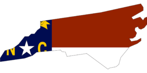 NC Flag set over the map